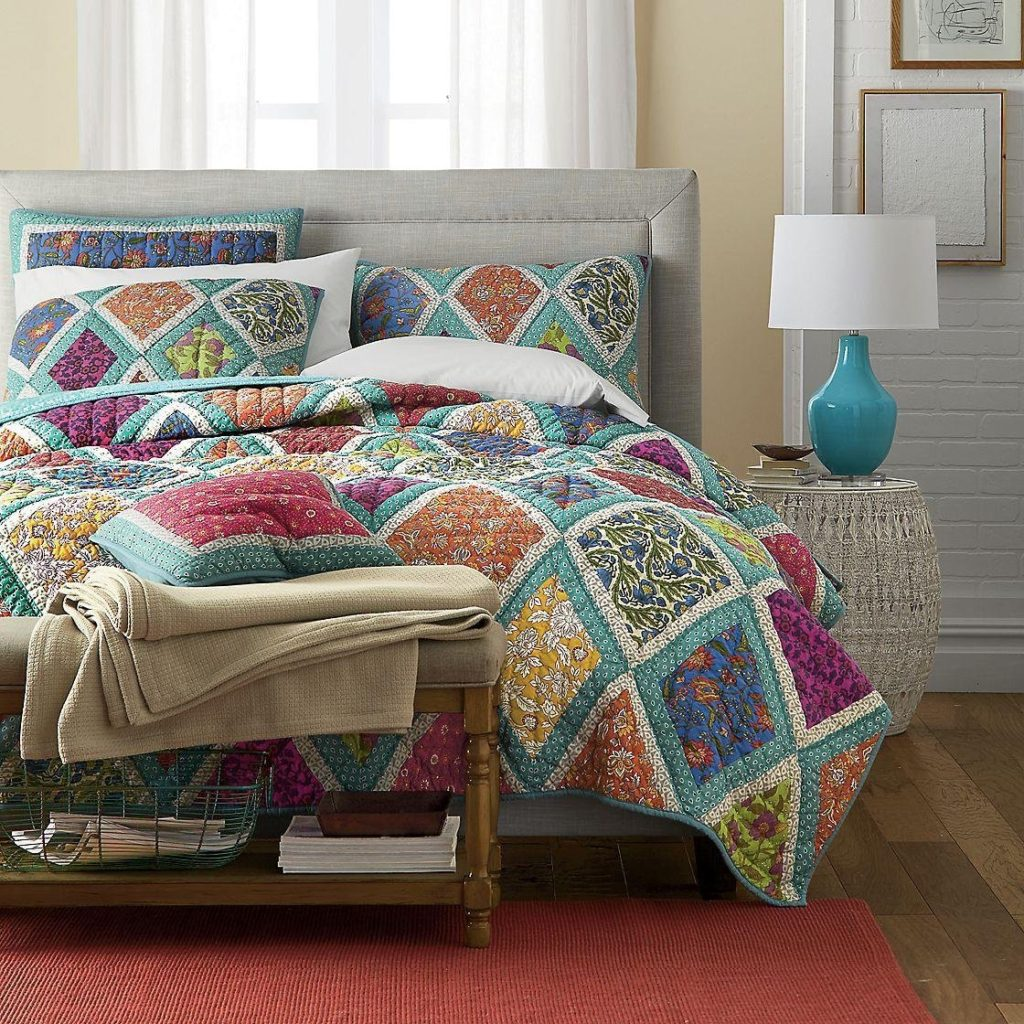 Bohemian Bedding Collection Reversible Real Patchwork Cotton Fairy Forest Glade Floral, Boho Chic Quilt Bedspread Set