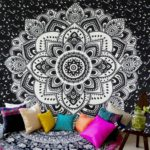 Icejazz Mandala Tapestry Wall Hanging Black & White Wall Art Floral Decorative for Bedroom Living Room