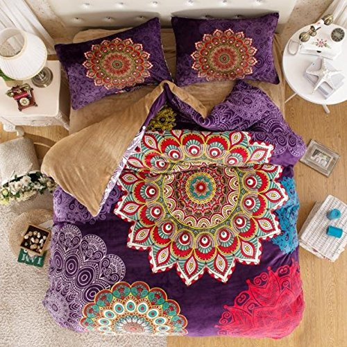 Bohemian Flannel Bedding, Boho Bedding Set, Bohemian Duvet Cover Set, Boho Queen
