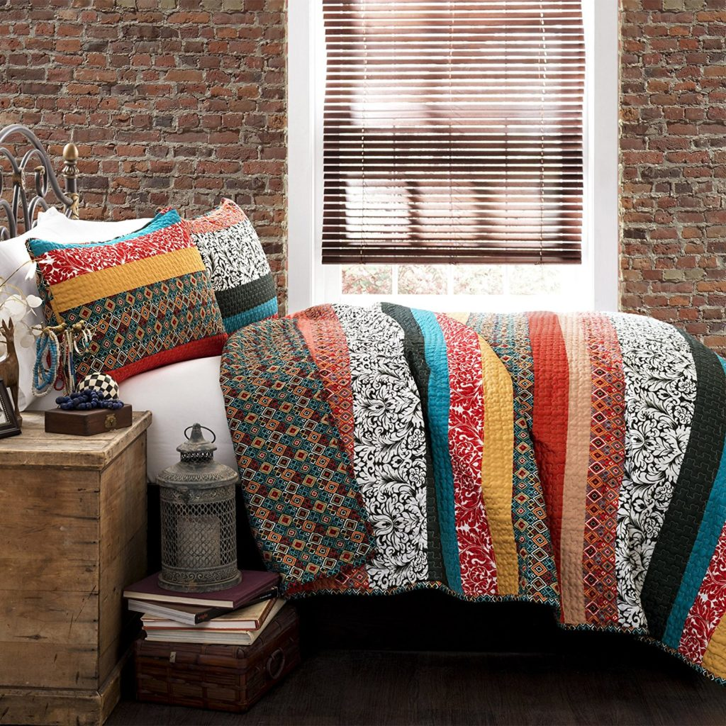 Lush Decor Boho Chic Bedding Stripe 3-Piece Quilt Set, Full-Queen, Turquoise-Tangerine