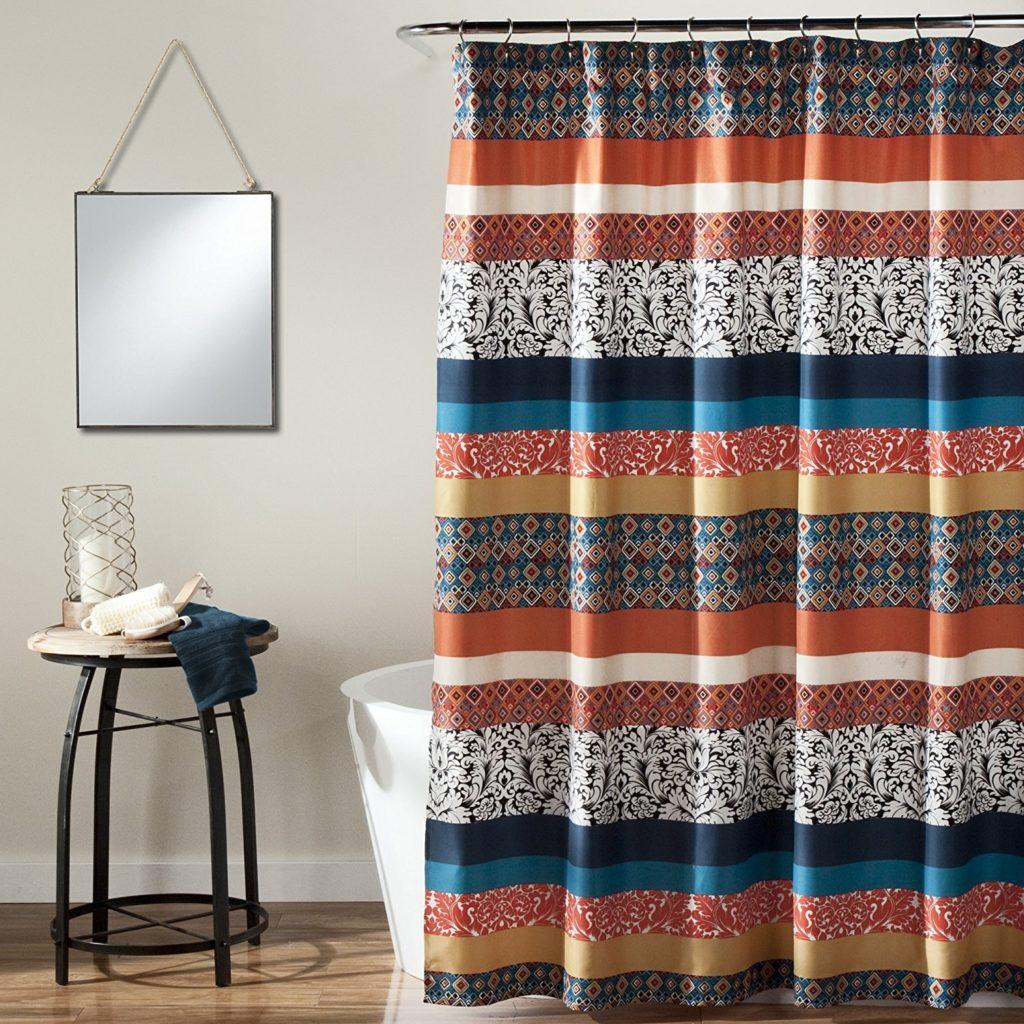 Lush Decor Bohemian Chic Stripe Shower Curtain, 72 x 72 Turquoise-Orange