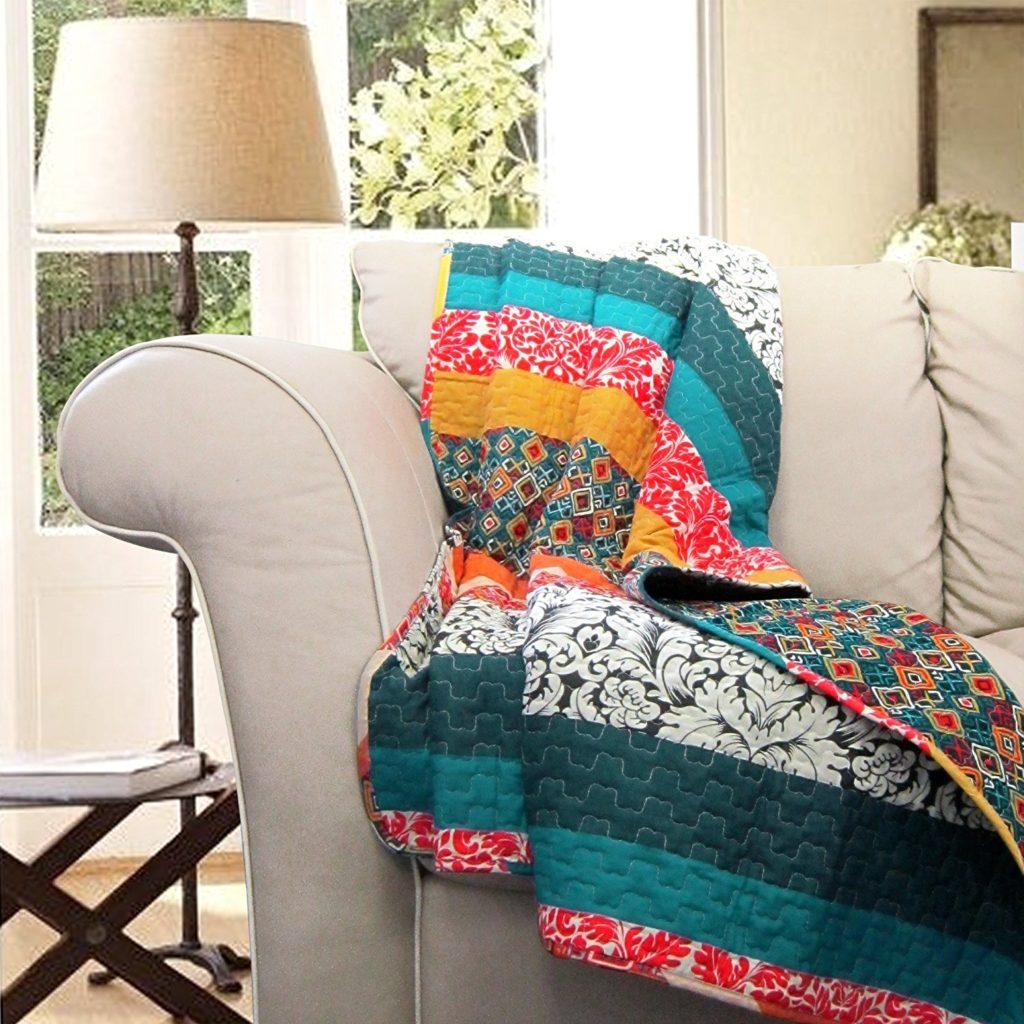 Lush Decor Boho Chic Stripe Throw Blanket, 60 x 50, Turquoise-Tangerine