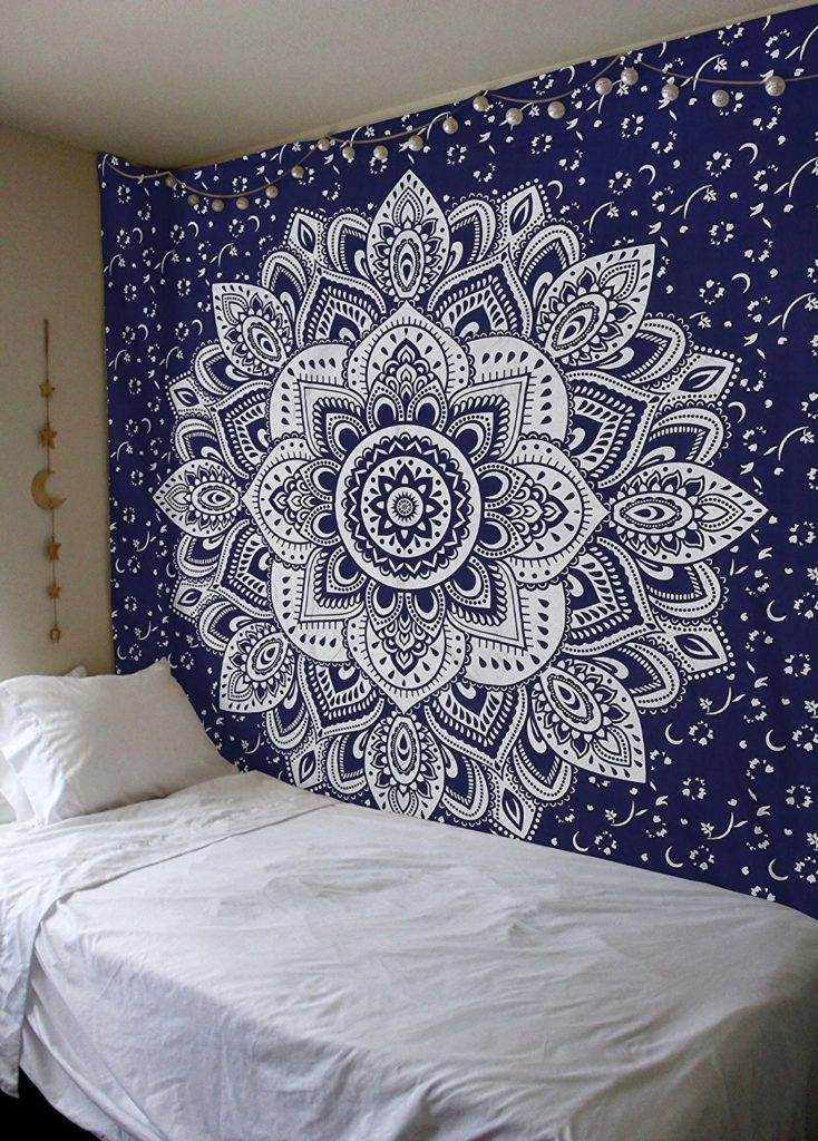 Mandala Gold Tapestries (Queen, Blue Silver)