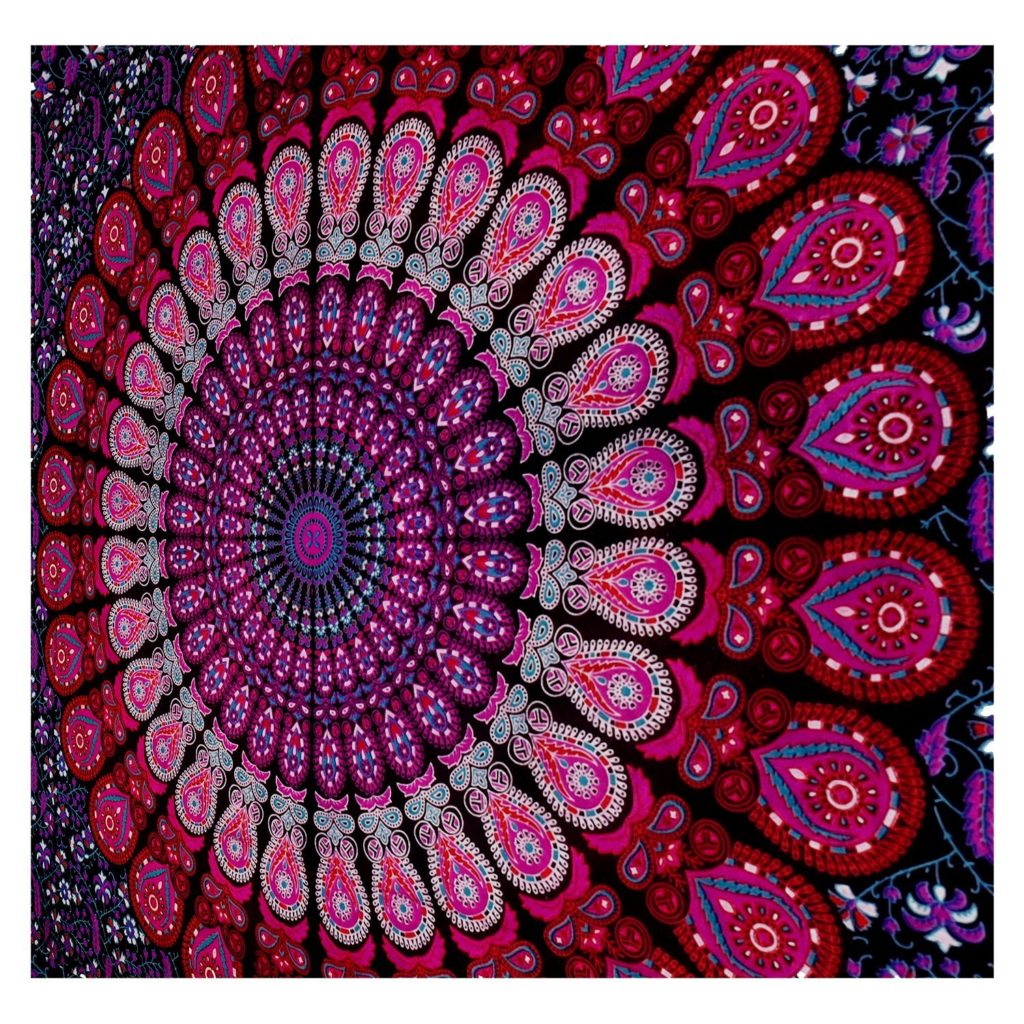 Mandala Tapestry Bohemian Wall Hanging, Psychedelic Wall Art, Dorm Décor Beach Throw, Indian Wall Tapestries Art - Boho Chic Bedding
