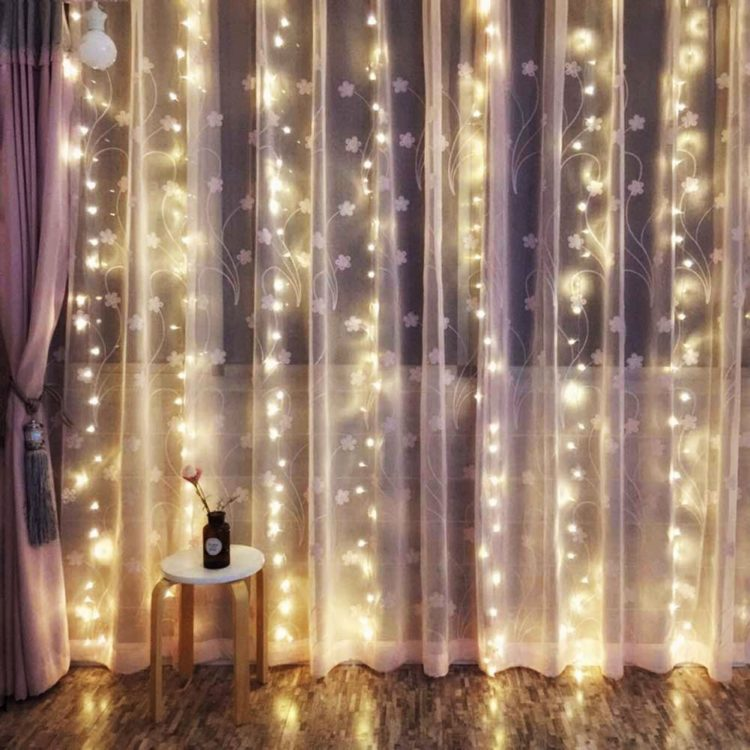 LED lights Outop 24V Safe Version 300LED 3X3M-9.8X9.8ft Window curtain Icicle Lights with 8 Modes Setting for Wedding Party Christmas Garden Home Decoration