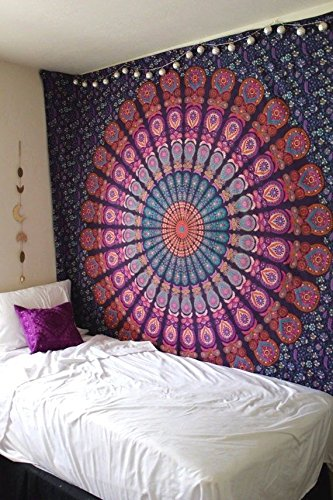 Hippie Mandala Bohemian Tapestry Wall Hanging, Psychedelic Wall Art, Dorm Décor Beach Throw, Indian Wall Tapestries