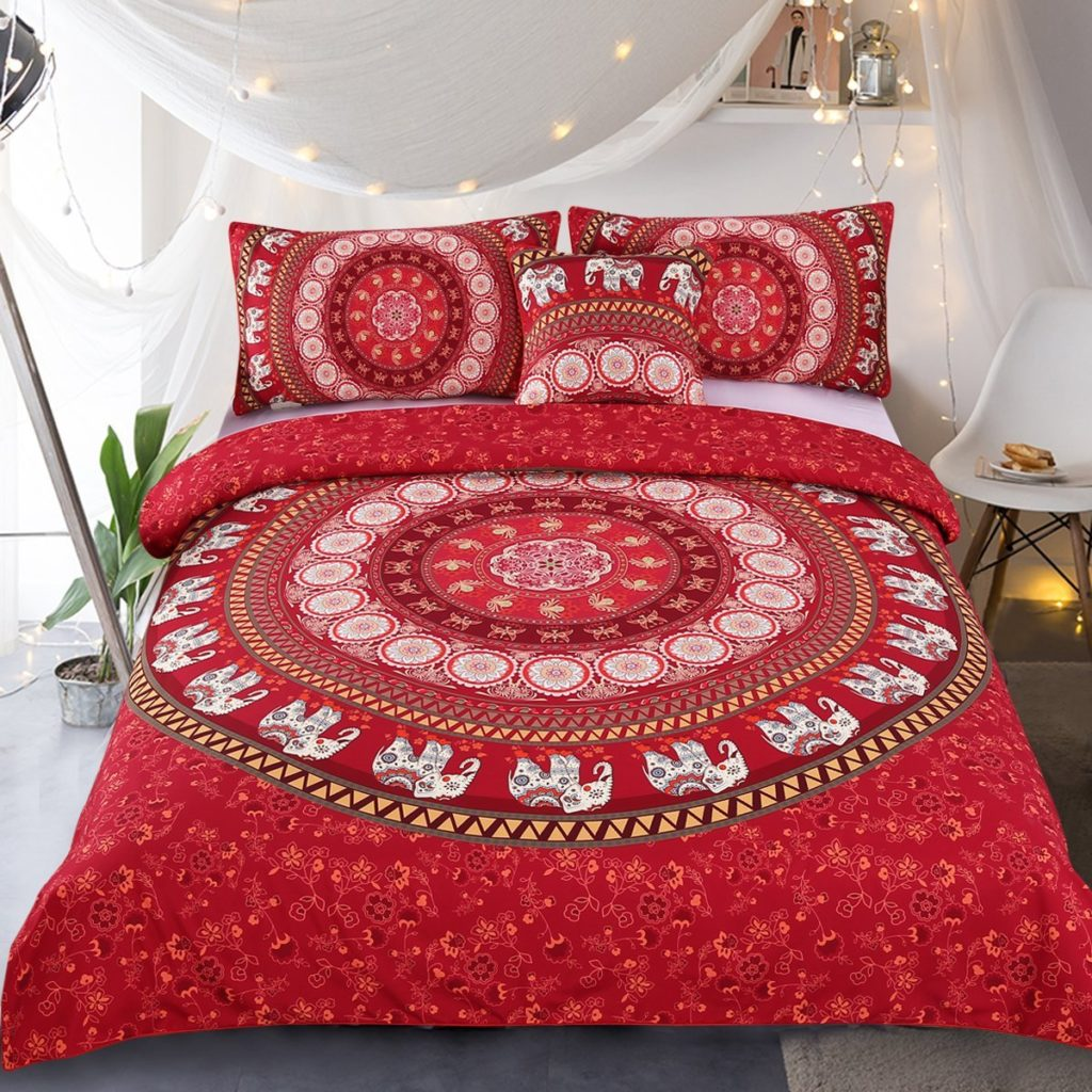 Boho Chic Bedding - Sleepwish Elephant Mandala Duvet Cover Red Bohemian Bedding Hippie Bed Set Elephant Tapestry Bedding - Queen Boho Bedding
