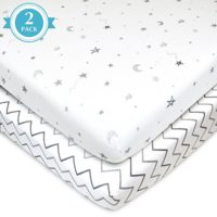 American Baby Company 2 Piece Printed 100 percent Cotton Jersey Knit Fitted Portable-Mini-Crib Sheet, Grey Stars and Zigzag