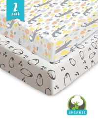 Bouncy Best Baby Sheets, 100% GOTS Certified Set of 2 Premium Quality Organic Jersey Cotton Fitted Crib Sheets