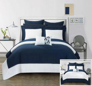 Chic Home 7 Piece Charlene MODERN TWO TONE REVERSIBLE HOTEL COLLECTION Twin Bed In a Bag Comforter Set Navy With sheetset, Blue and White Bedding