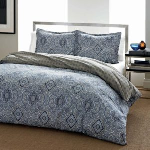 City Scene Milan Blue Comforter Set, King - white and blue bedding