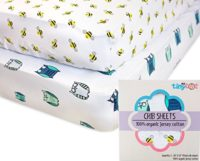 Organic Cotton Best Crib Sheets - 100% Organic Jersey Cotton 2-Pack Cute Design for Boys & Girls