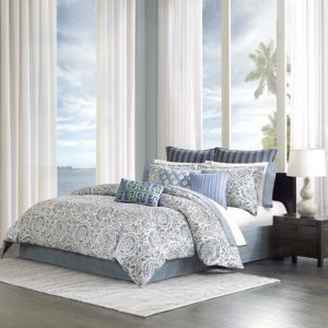 Echo Design Kamala Comforter Set, California King, White and Blue Bedding