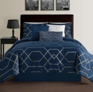 Hampton 7-Piece Modern Geometric Comforter Set - Down Alternative Hypoallergenic Comforters - Comforter, Bed Skirt, Bolster, Pillow and 2 Shams Set, King, Blue