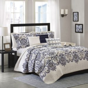 Madison Park Cali 6 Piece Quilted Coverlet Set, Full-Queen, Blue