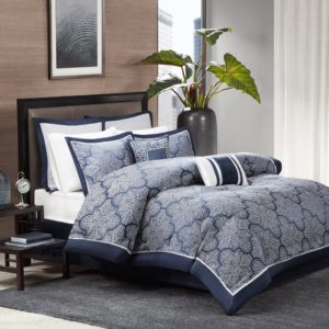Madison Park MP10-1659 Medina 8Piece Jacquard Comforter Set King , Navy