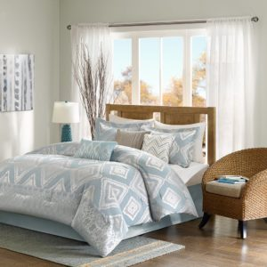 Madison Park MP10-2358 Kiely 7 Piece Comforter Set, California King, Light Blue and White Bedding