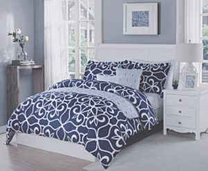Max Studio Sicily Medallions Scroll Lattice Geo Pattern Full Queen Duvet Cover and Shams 3pc Set Navy Blue White Geometrical