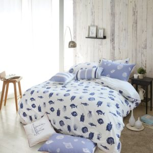 Merryfeel 100% cotton Printing Duvet Cover Set - Full-Queen - white and blue bedding