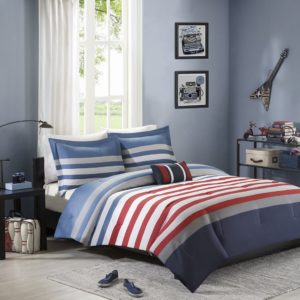 Mizone Kyle 4 Piece Comforter Set, Red, White and Blue Bedding, Full-Queen