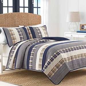 Nautica 217329 Rangley Cotton Pieced Quilt, Twin, White and Blue Bedding