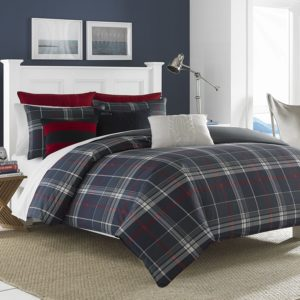 Red White and Blue Bedding, Nautica Booker Cotton Comforter Set, Full-Queen