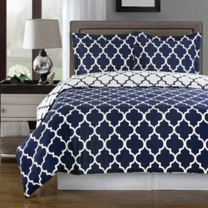 Navy and White Meridian Full - Queen 3-piece White and Blue Duvet Cover Set, 100 % Cotton 300 TC
