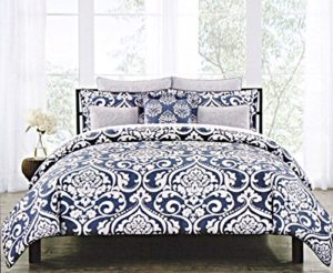 Nicole Miller Bedding Symphony Duvet Cover 3pc Set 100% Cotton Large Damask Vintage Ornate Medallions Faux Linen Gray White Navy Blue Grey (Queen)