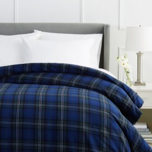 Pinzon Bedding - Flannel Duvet Cover 160 Gram Plaid Velvet - Full-Queen Flannel, Blackwatch Plaid