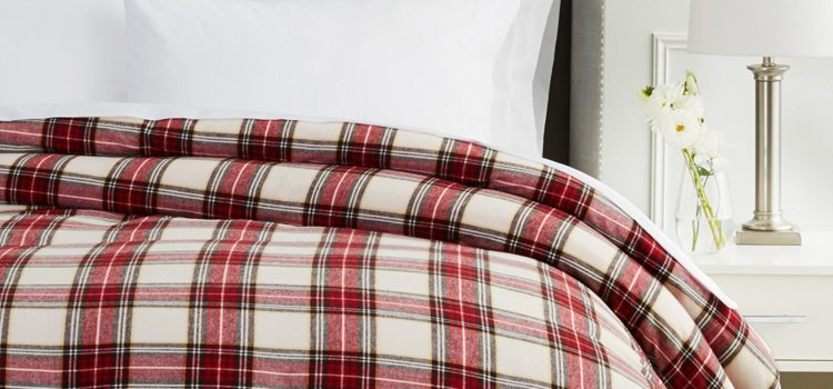 Pinzon Flannel Duvet Cover 160 Gram Plaid Velvet - Pinzon Flannel Full-Queen, Cream-Red Plaid