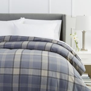 Pinzon Flannel Duvet Cover, 160 Gram Plaid Velvet - Pinzon Flannel King, Grey Plaid
