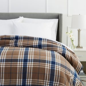 Pinzon Flannel Duvet Cover, 160 Gram Plaid Velvet - Pinzon Flannel King, Brown Plaid