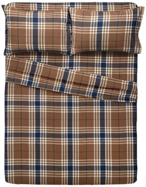 Pinzon Bedding - Best Flannel Sheets Set, 160 Gram Plaid Velvet - Pinzon Flannel King, Brown Plaid