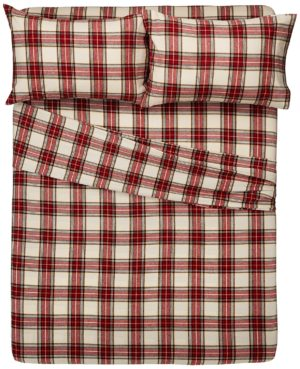 Pinzon Bedding - Best Flannel Sheets - 160 Gram Plaid Velvet - Pinzon Flannel King, Cream-Red Plaid