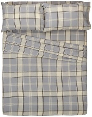 Pinzon Bedding, 160 Gram Plaid Velvet - Pinzon Flannel King, Grey Plaid, Best Flannel Sheets