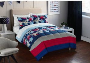 Mainstays Kids American Star Camo Bed in a Bag Bedding Set, Red, White and Blue Boy Bedding,Twin