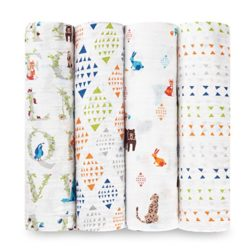 aden + anais swaddle 4 pack, paper tales
