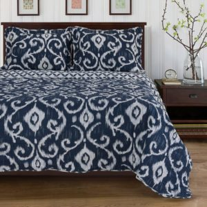100% Cotton 3-Piece Cambridge Quilt Set, Full-Queen, Dark Blue