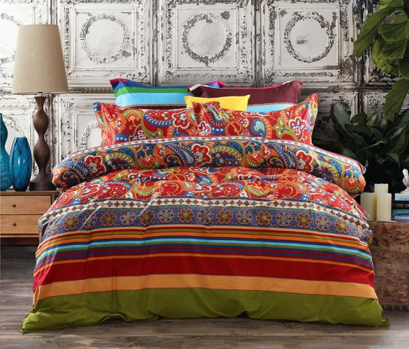 Boho Chic Bedding, 3-Piece Bohemian Ethnic Retro Multi Color Bedding Sets-Collections,Morocco Boho Chic Stripe Duvet Cover Sets with Shams,Turquoise and Tangerine,for Home Decor