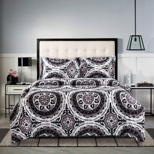 Boho Chic Bedding, 3 Piece Boho Chic Duvet Cover and Pillow Shams Bedding Set, Bohemian Boho Mandala, Soft Microfiber (King Size)