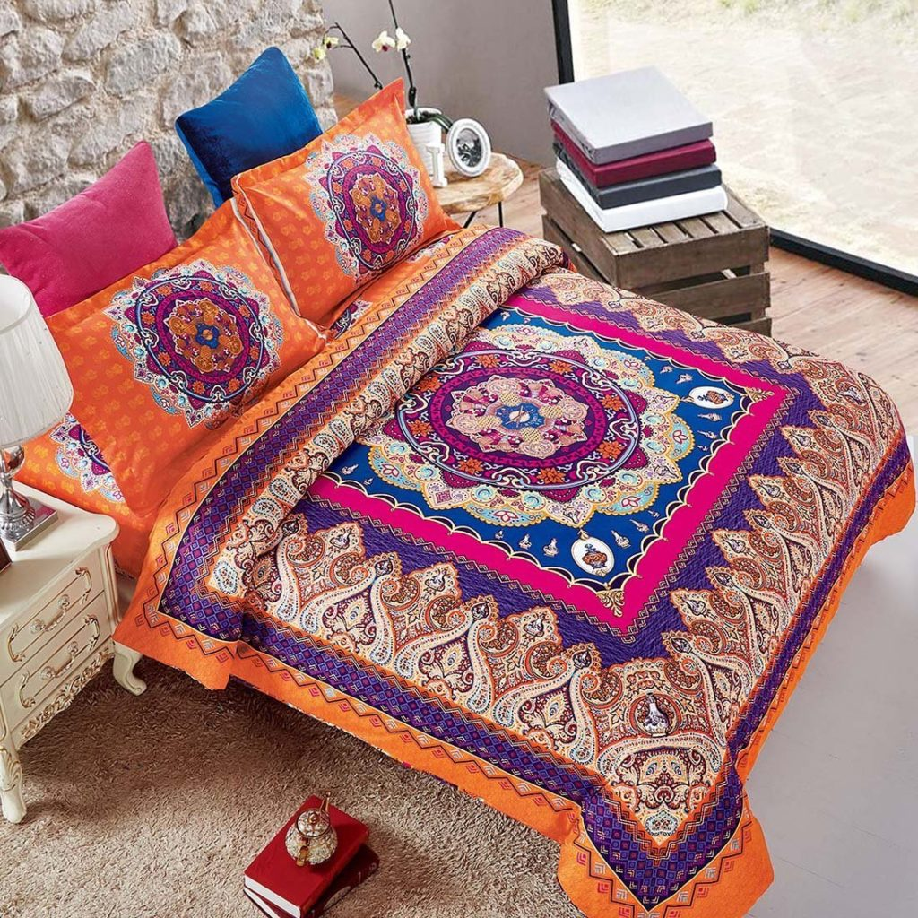Boho Chic Bedding 3 Piece Duvet Cover and Pillow Shams Set, Soft Microfiber, Boho Bohemian Mandala (Queen Size)