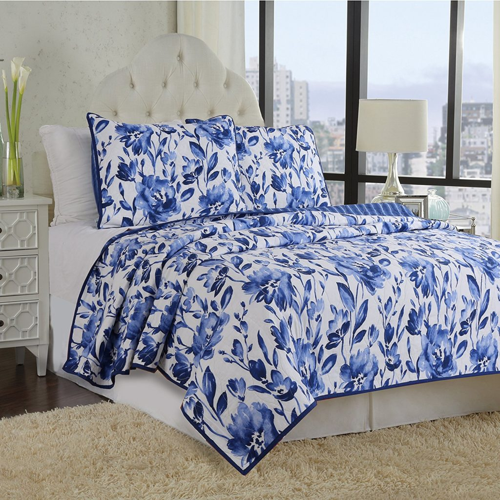3-Piece Quilt Set 100%Cotton, Bedspread Set, Finely Stitched, Coverlet Bed-cover, Washable Durable, Blue Flower, White and Blue Floral Bedding (Queen)