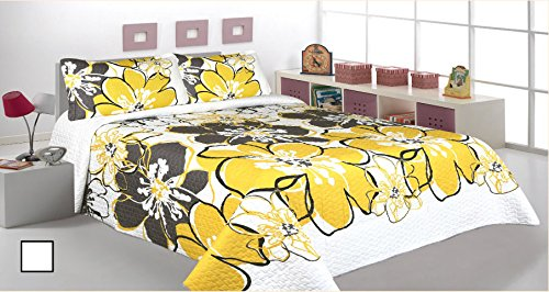 3 Pieces Printed Bedspread Coverlet Sets Quilt Sets White Grey Yellow Floral Bedding Available in Queen & King size (Queen)