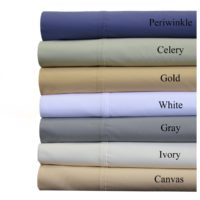 Abripedic Crispy Best Percale Sheets, 300-Thread-Count, 4PC Solid Sheet Set, 100percent Cotton, 22 Inch Super Deep Pocket, Queen