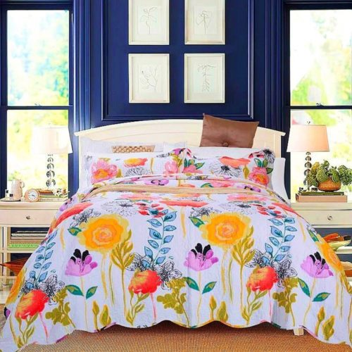 Artextile Yellow Floral Bedding Poppy Reversible Coverlet Bedspread 3-Pieces Quilt Set ,Queen Size