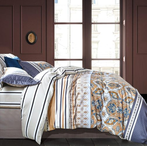Boho Chic Bedding, Bohemian Duvet Cover Striped Ethnic Boho Reversible Paisley Pattern Cotton Bedding 3 Piece Set Colorful Modern Hippie Style (Queen, Dusty Indigo)