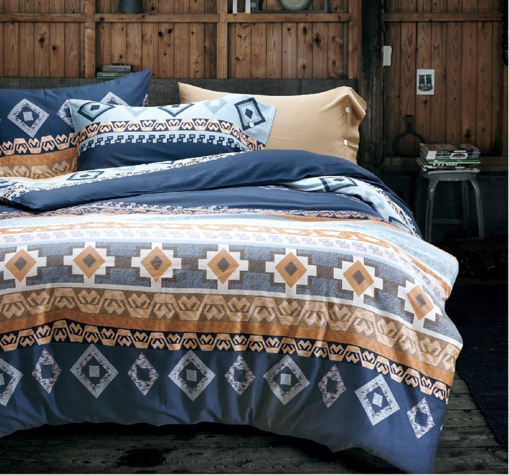 Bohemian Duvet Cover Striped Ethnic Boho Reversible Southwestern 400TC Cotton Bedding 3pc Set Navy White Orange Modern Geo Aztec Print (Queen, Tang)