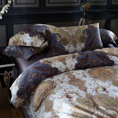 Boho Chic Bedding, Brandream Boho Paisley Print Luxury Duvet Quilt Cover 4pc Bedding Set Bohemian Damask Medallion 400TC Egyptian Cotton Sateen Full Size