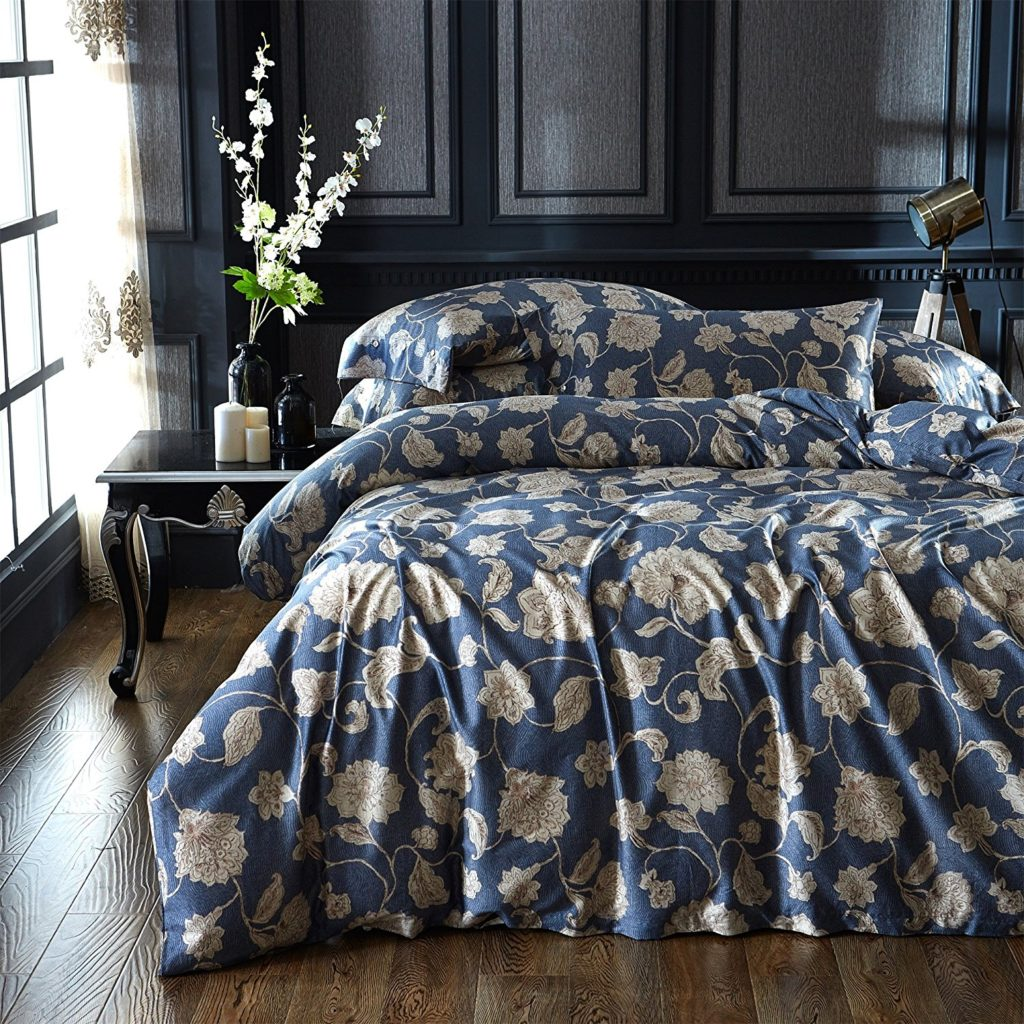 Brandream Eastern Floral Chinoiserie Blossom Print Duvet Quilt Cover Navy Blue Tan Dark Beige Asian Style