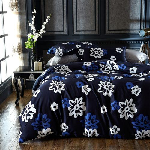Brandream Modern Watercolor Flowers Print Duvet Quilt Cover 4pc Set Cotton Sateen 400tc Luxury Floral Bedding (Full,Dark Blue)